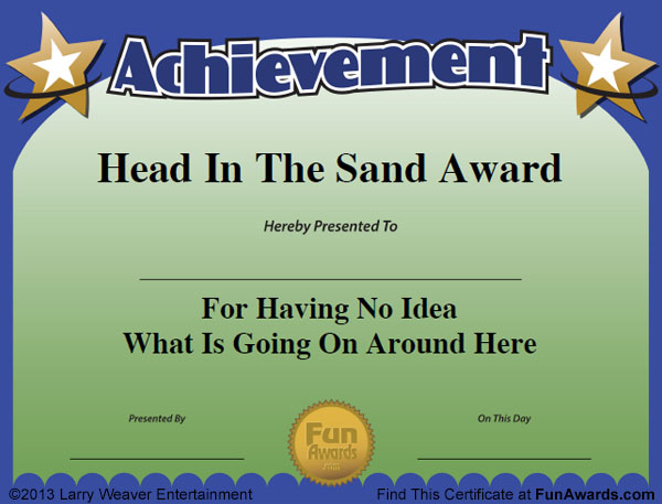 Funny employee awards 101 funny awards for employees for Free funny certificate templates for word