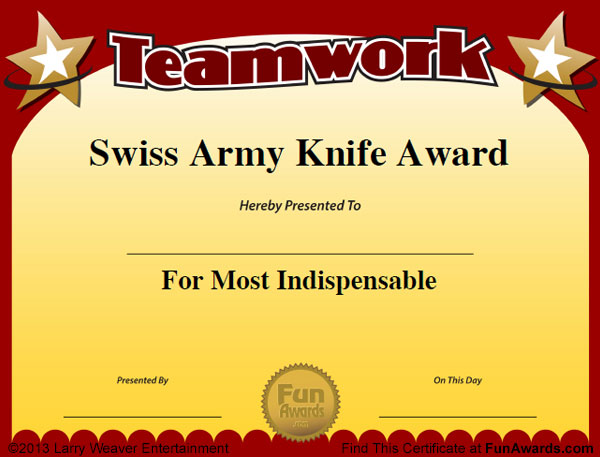 Sample Funny Employee Certificates: 101 in All PLUS 7 Award Templates!