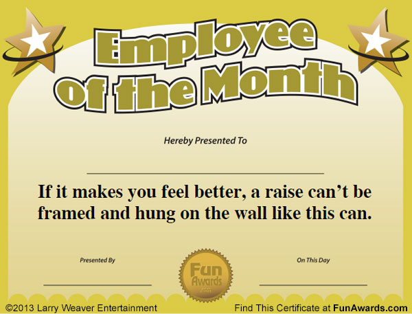funny award certificates for employees  Employee of the Month Certificate: Free Funny Award Template