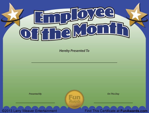 Employee of the Month Certificates - Free Funny Employee of the Month ...