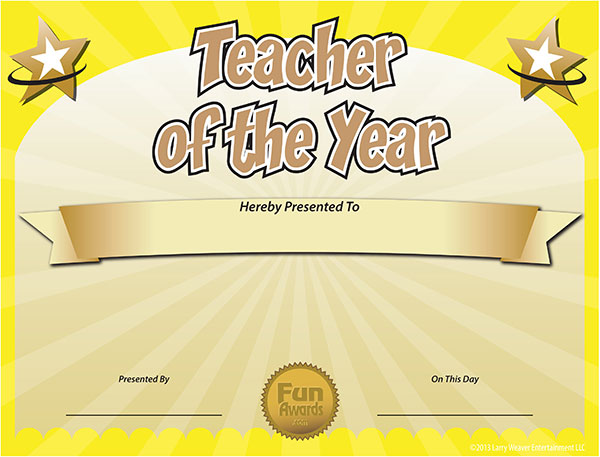 Free Teacher Of The Year Award Certificate Template  Funny Award Ideas