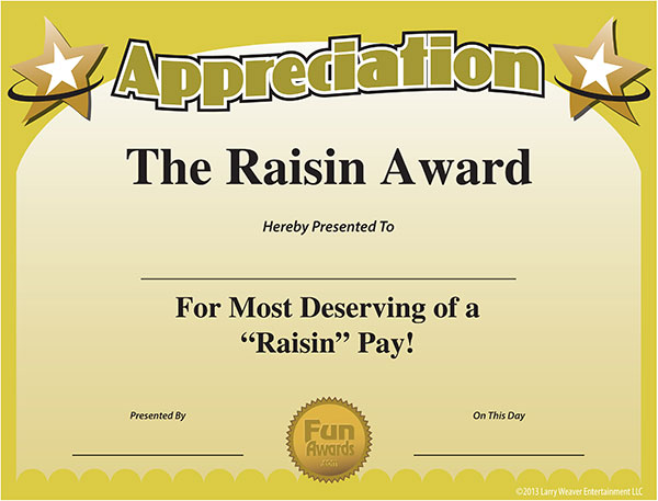 Free printable certificates funny printable certificates free certificate of appreciation yadclub Images