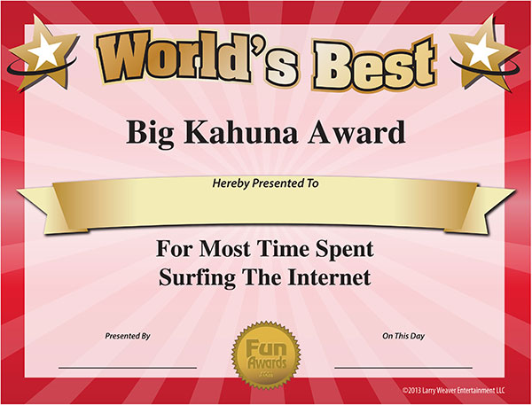 free funny award certificate templates for word - free printable award certificates most time spent