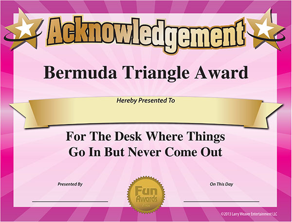 Fun Certificate - Bermuda Triangle Award for Lost Paperwork