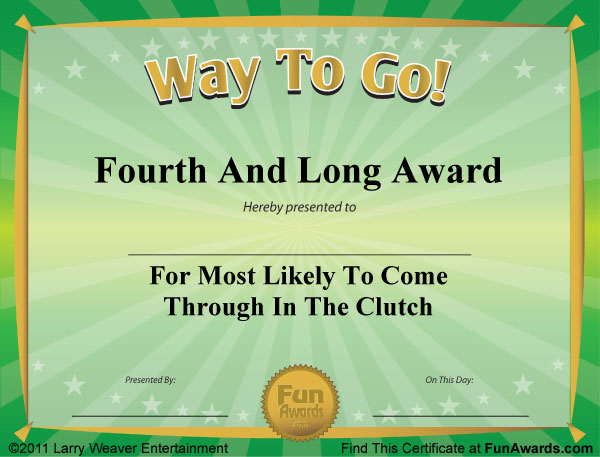 Sample funny award certificates 101 in all plus 6 award templates