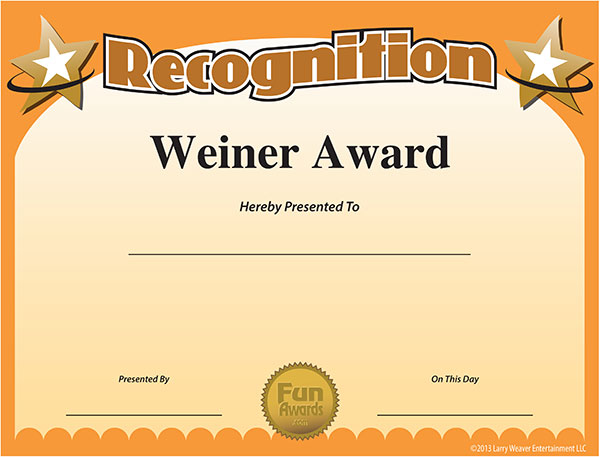 Weiner Award - Create your own funny Weiner Certificate