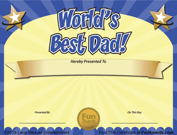 World's Best Dad Father's Day Certificate Free