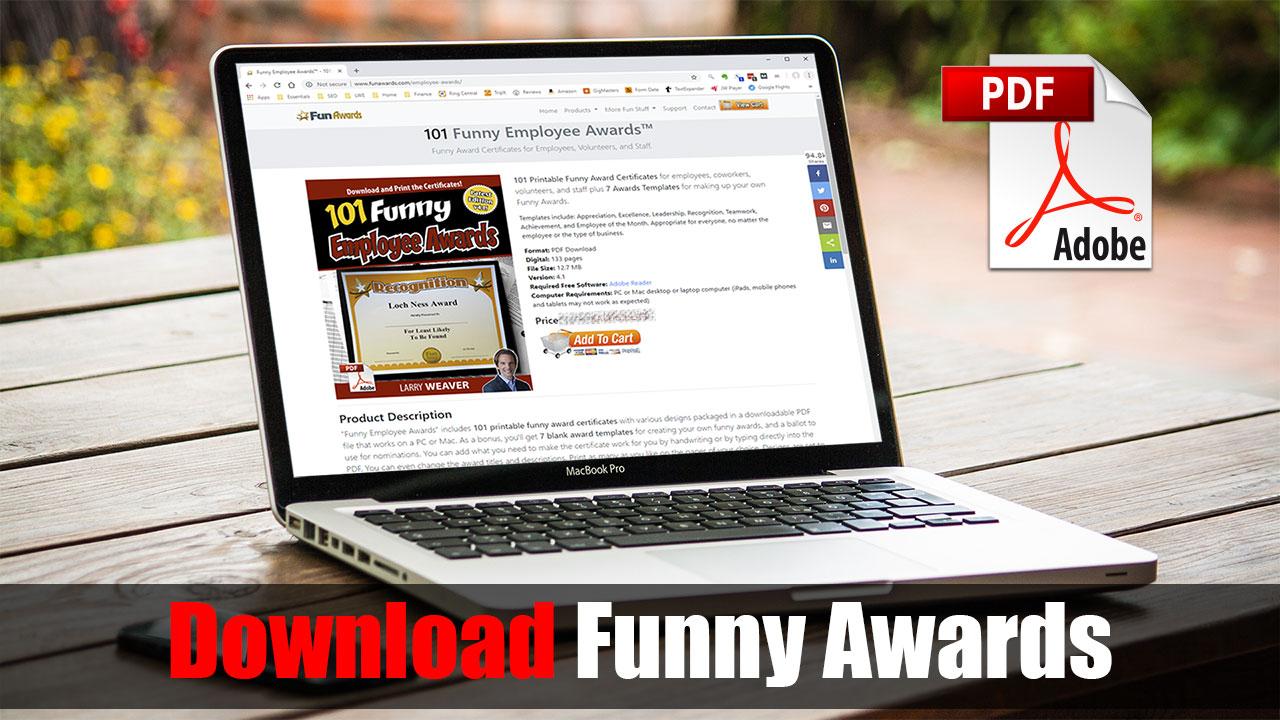 Funny Awards Silly Awards Humorous Award Certificates