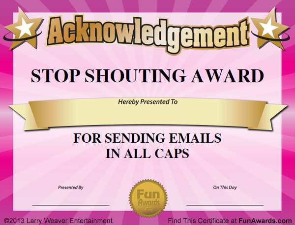 Funny Award Certificates Categories