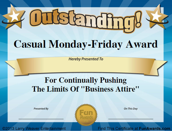 Free Printable Funny Awards Certificates