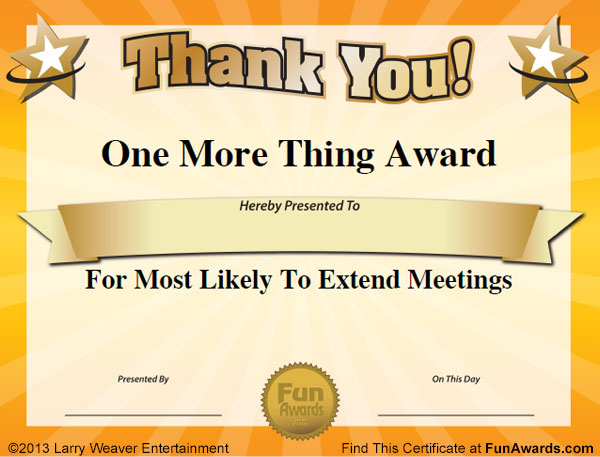 Funny office awards 101 printable award certificates for the office