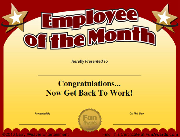 includes 12 employee of month certificate