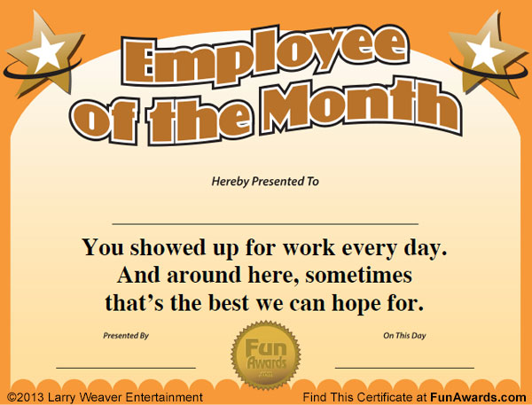 Employee of the month certificate free funny award template for Free funny certificate templates for word