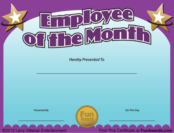 teacher of the month certificate template - employee of the month certificate free funny award template