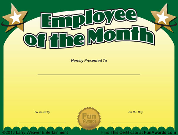 certificates employee of the month award - Certificate Of Employee Of The Month Template