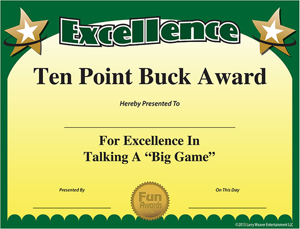 Gag Certificates - Ten Point Buck Award for Talking a Big Game