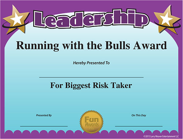Printable Certificate Leadership Award Funny Free