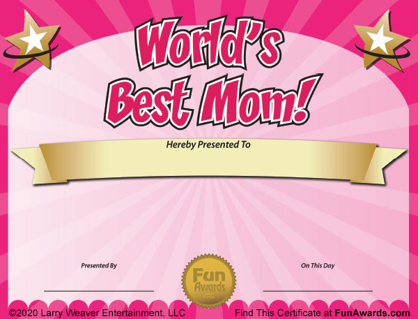 World's Best Mom Mother's Day Certificate Free