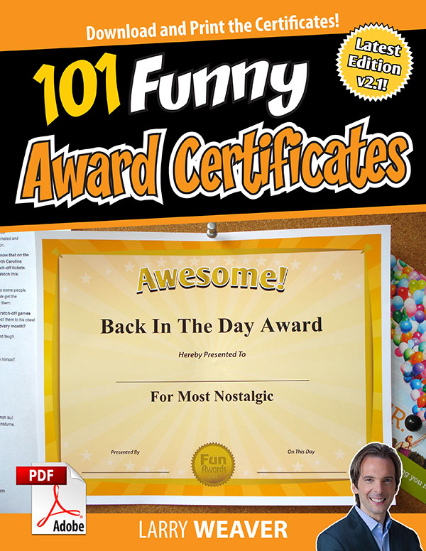Funny Award Certificates   Funny Certificates To Give Family