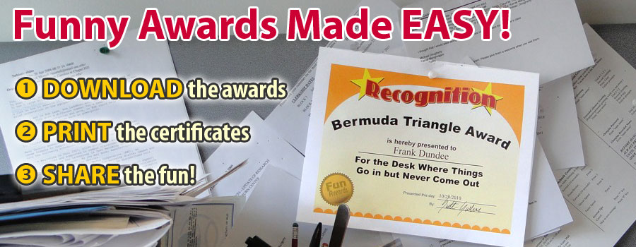 Funny Awards Silly Awards Humorous Award Certificates