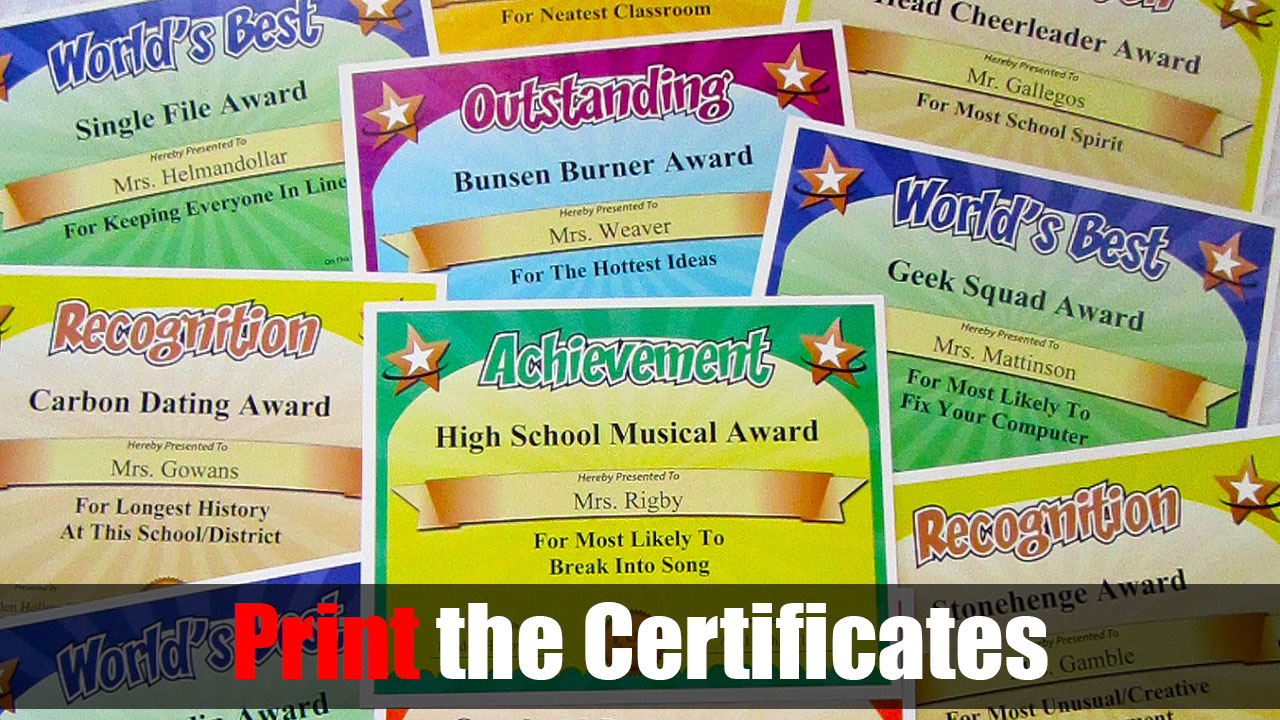 print funny certificates