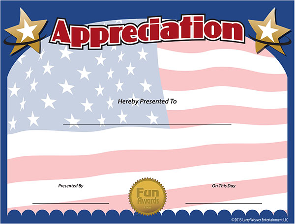 military certificate of appreciation