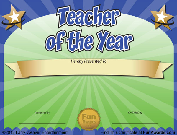Funny teacher awards 101 printable certificates fun award ideas teacher of the year award template yelopaper Images